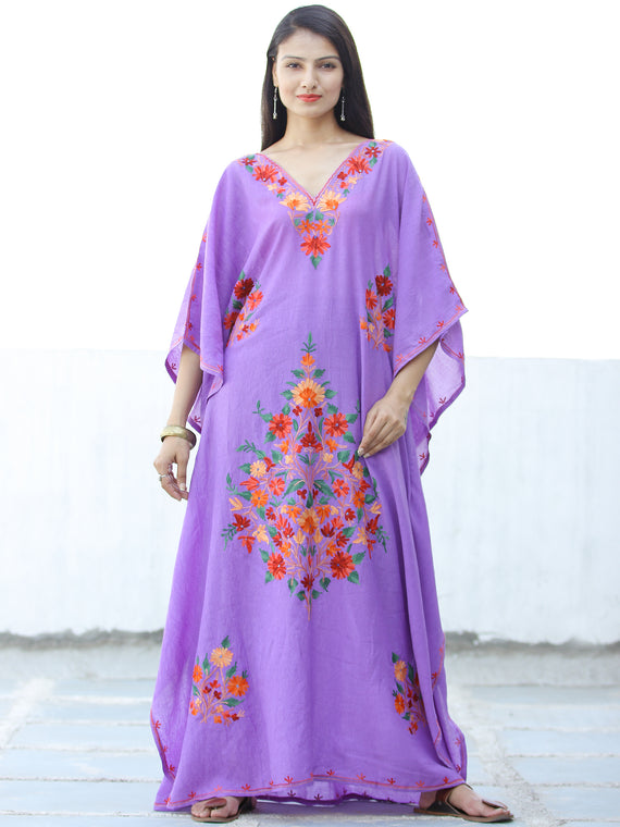 Lilac Red Yellow Aari Embroidered Kashmere Free Size Kaftan in Crushed Cotton - K11K065