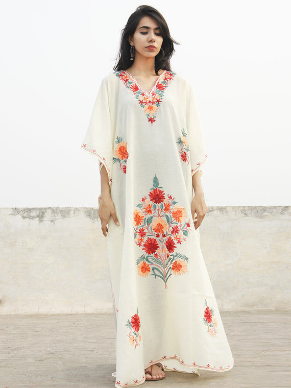 White with Multi color  Aari Embroidered Long Kashmere Free Size Kaftan in Crushed Cotton - K11K015
