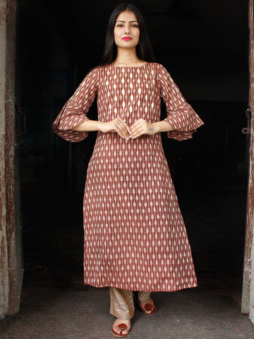Brown Ivory Hand Woven Mercerised Ikat Cotton Kurta & Pants With Gotta Embroidery - Set of 2  - SS01F1408