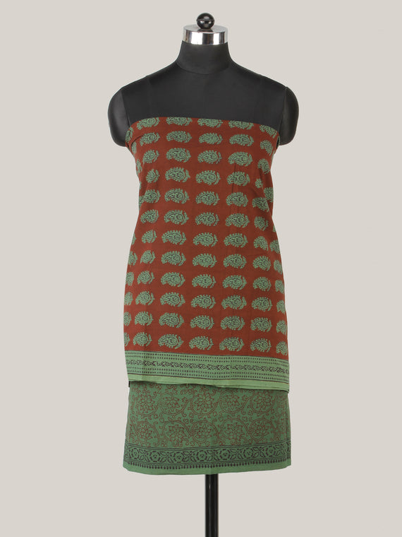 Maroon Hunter Green Bagh Hand Block Printed Cotton Suit-Salwar Fabric With Chiffon Dupatta (Set of 3) - SU01HB409