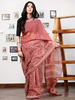 Onion Pink Ivory Hand Block Printed Kota Doria Saree in Natural Colors - S031702860