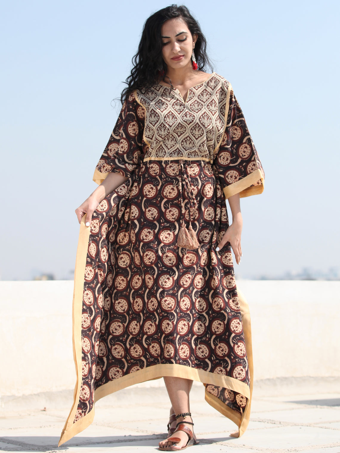 Black Brown Hand Block Printed C Cut Kaftan - K141F1361