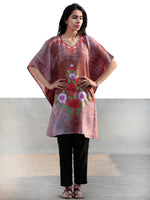 Brown Red Lavender Ivory Aari Embroidered Short Kashmere Kaftan  - K11K028
