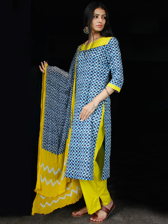Indigo Yellow White Cotton Block Printed Suit - Set of 3 - SS01F015