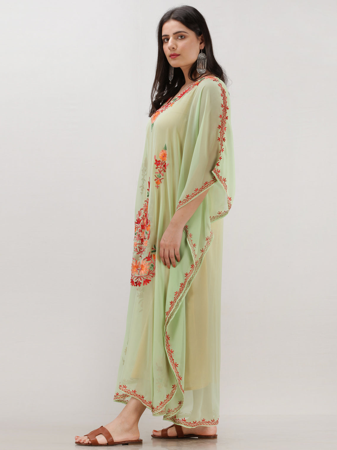 Light Green Multicolor Aari Embroidered Kashmere Free Size Georgette Kaftan  - K12K011