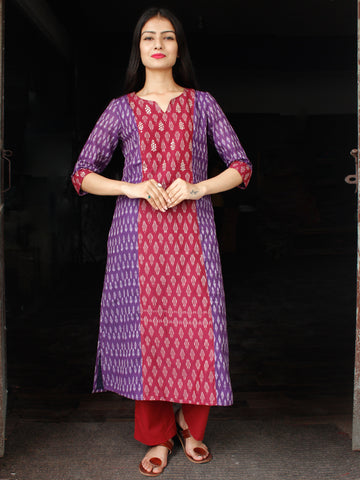 Purple Maroon Ivory Pochampally Hand Woven Mercerised Ikat Cotton Suit With Sequence Embroidery - Set of 2  - SS01F044