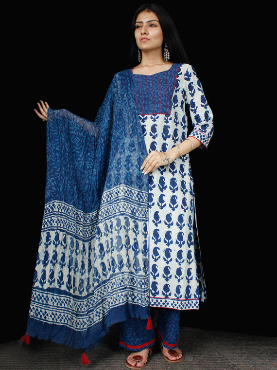 Indigo Ivory Cotton Block Printed Suit - Set of 3 - SS01F016