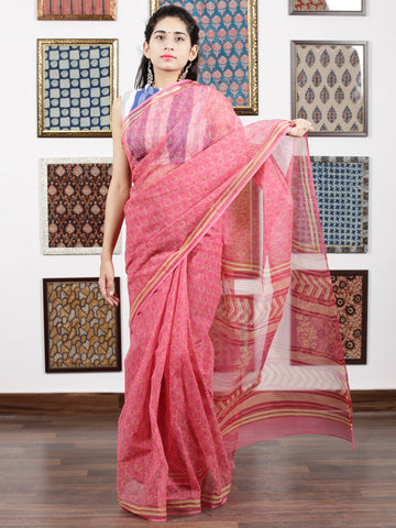 Pink Yellow Hand Block Printed Kota Doria Saree in Natural Colors - S031703097