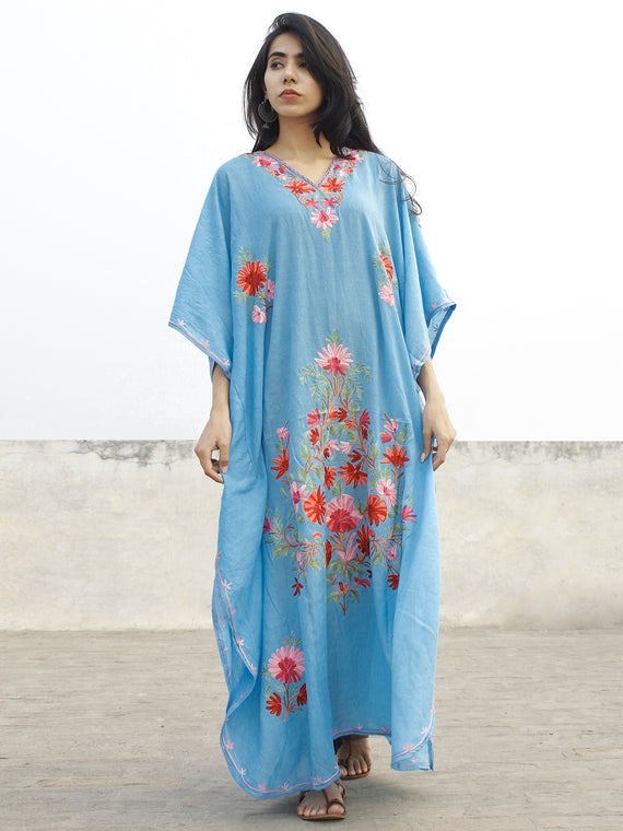 Sky Blue Aari Embroidered Long Kashmere Free Size Kaftan in Crushed Cotton - K11K016
