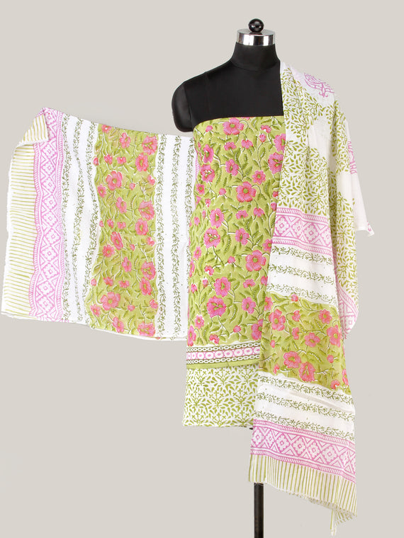Green Pink White Hand Block Printed Cotton Suit-Salwar Fabric With Cotton Dupatta (Set of 3) - SU01HB436