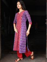 Purple Maroon Ivory Ikat Sequence Work Kurta & Pants (Set of 2) - SS01F1437