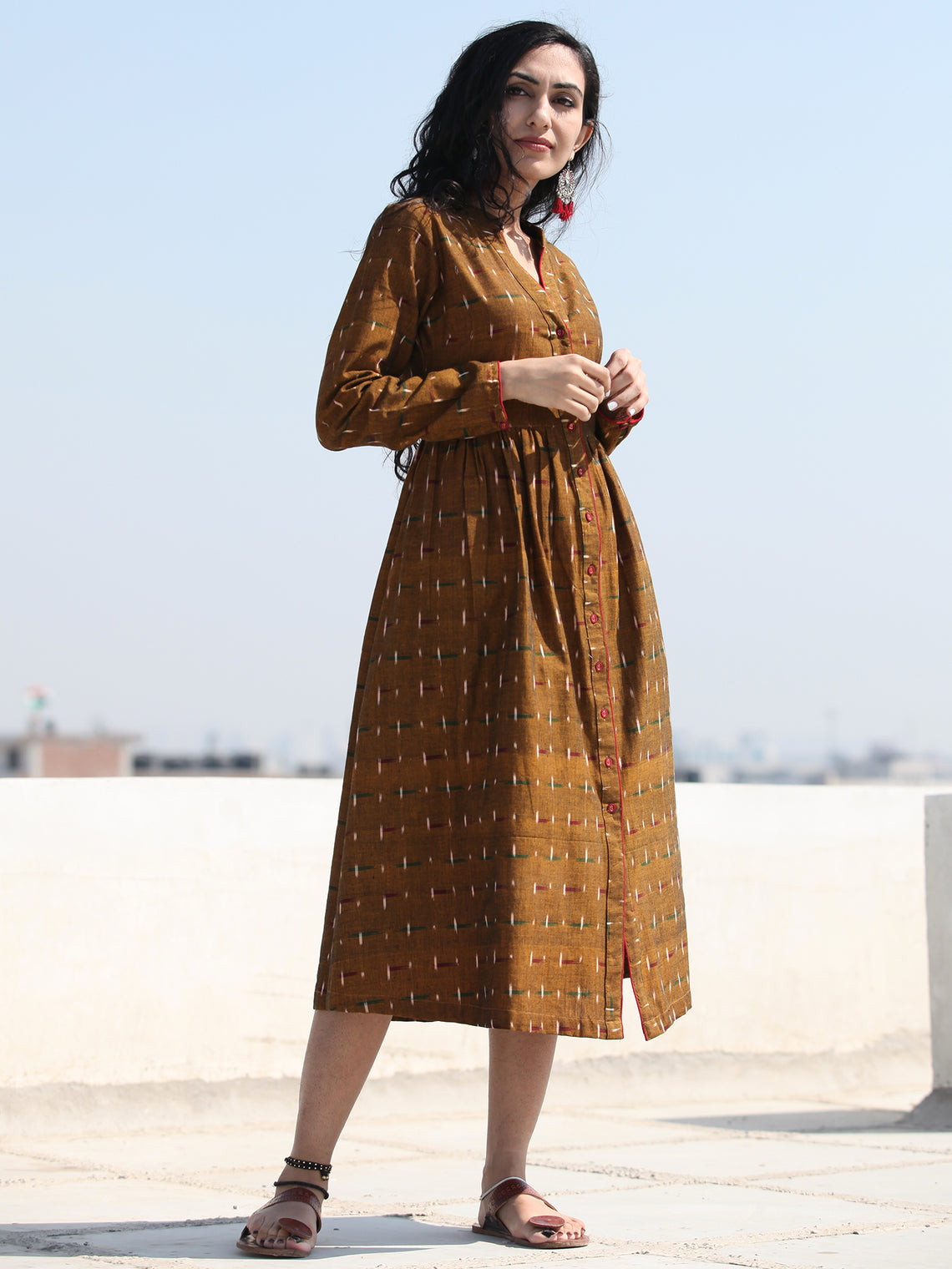 Irhaa - Handwoven Ikat Tie Front Open Midi Dress - D313FYYY