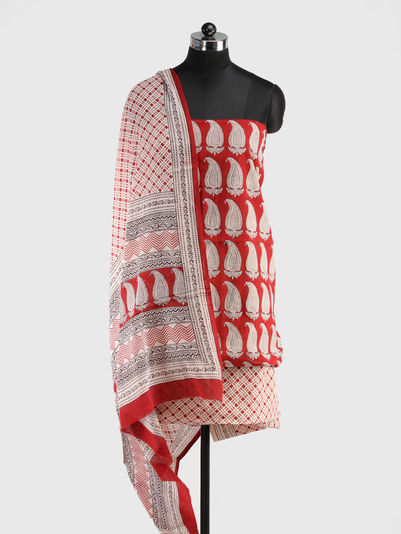 Brick Red White Bagh Hand Block Printed Cotton Suit-Salwar Fabric With Cotton Dupatta (Set of 3) - SU01HB420