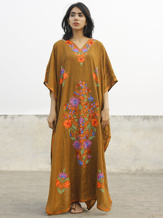 Peanut Brown  Aari Embroidered Long Kashmere Free Size Kaftan in Crushed Cotton - K11K017