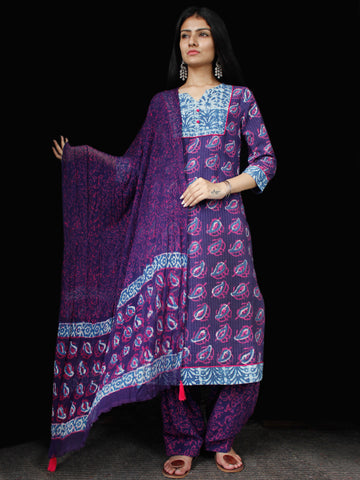 Purple Lavender Indigo Cotton Block Printed Suit With Kantha Work - Set of 3 - SS01F017