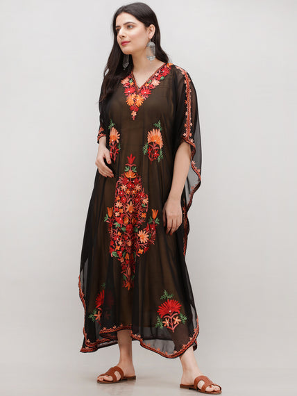Black Multicolor Aari Embroidered Kashmere Free Size Georgette Kaftan  - K12K013