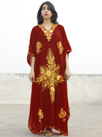 Maroon Red & Golden Yellow Aari Embroidered Long Kashmere Free Size Kaftan in Crushed Cotton - K11K018