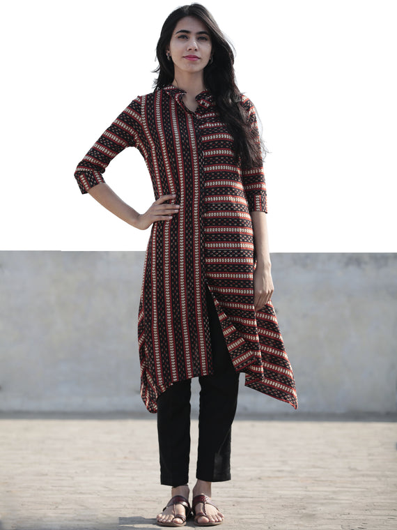 Black Red Peanut Brown Hand Block Printed Kurta With Front Slit - K34F878