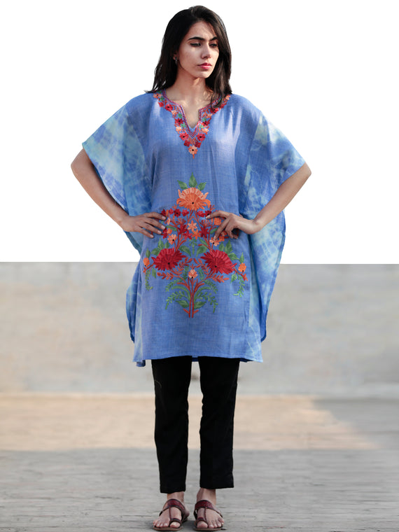 Blue Green Red Orange Aari Embroidered Short Kashmere Kaftan  - K11K031