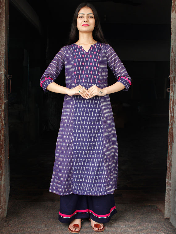 Purple Grey Silk Cotton Ikat Sequence Work Kurta & Palazzo (Set of 2) - SS01F1439