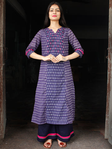 Purple Grey Magenta Pochampally Hand Woven Mercerised Ikat Cotton Suit With Sequence Embroidery - Set of 2  - SS01F045