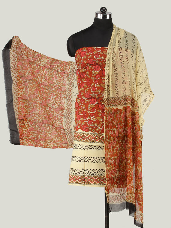 Red Beige Brown Hand Block Printed Cotton Suit-Salwar Fabric With Chiffon Dupatta (Set of 3) - SU01HB438