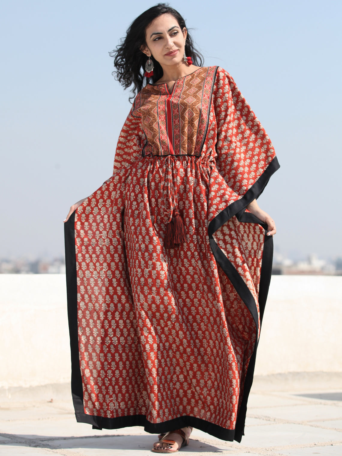 Rust Red Black Hand Block Printed Kaftan - K130F1737