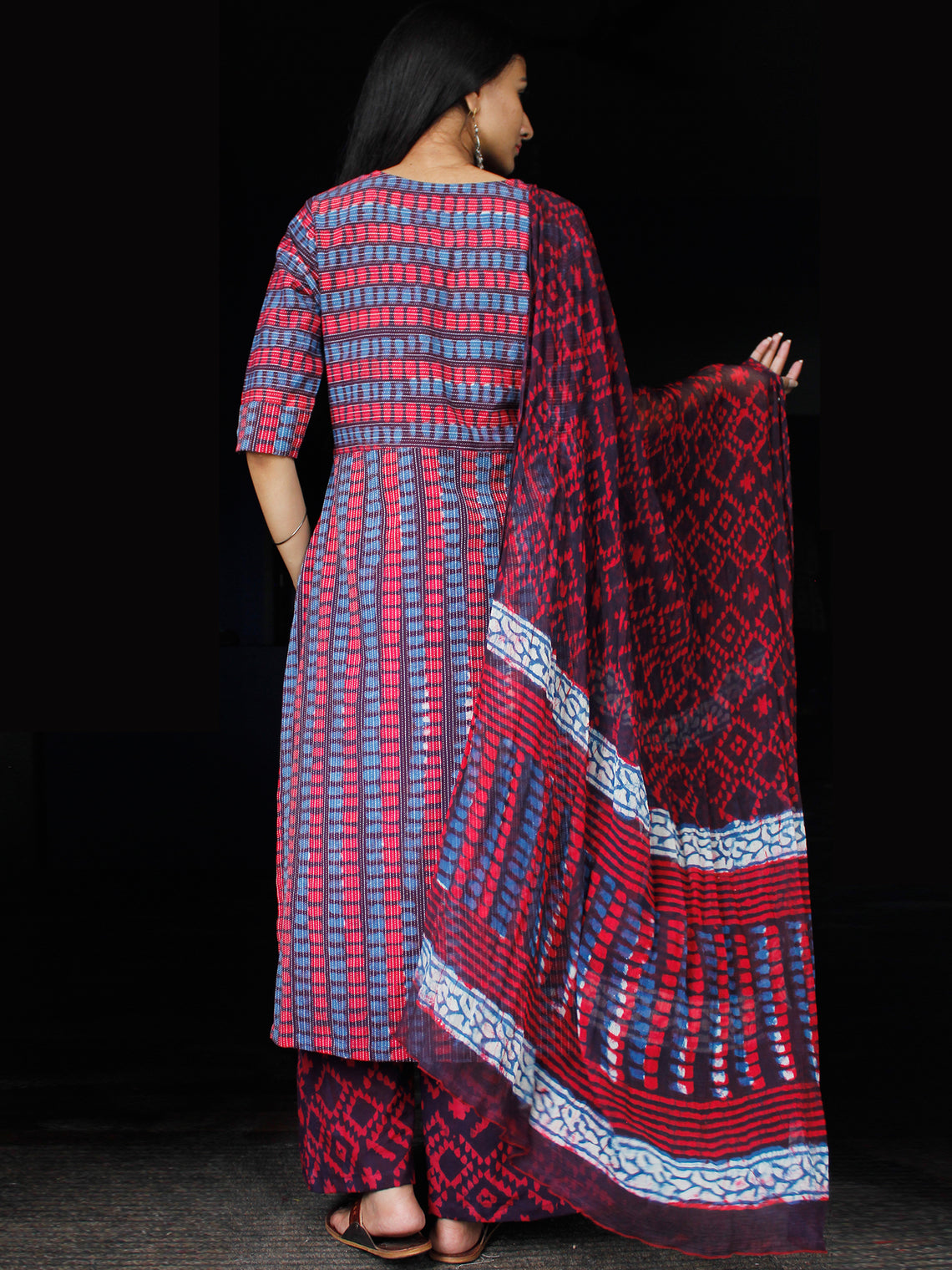 Indigo Red Purple Ivory Kantha Stitched  Cotton Block Printed Suit - Set of 3 - SS01F018