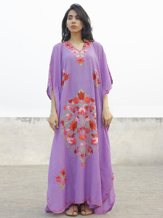 Mauve with Multi color  Aari Embroidered Long Kashmere Free Size Kaftan in Crushed Cotton - K11K019