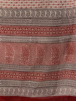 Off White Brick Red Black Bagh Hand Block Printed Cotton Suit-Salwar Fabric With Cotton Dupatta (Set of 3) - SU01HB422