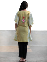 Chartreuse Green Rust Pink Aari Embroidered Short Kashmere Kaftan  - K11K032