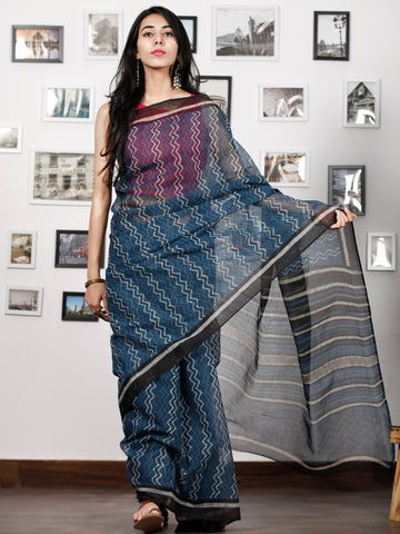 Indigo Black Ivory Hand Block Printed Kota Doria Saree in Natural Colors - S031702847