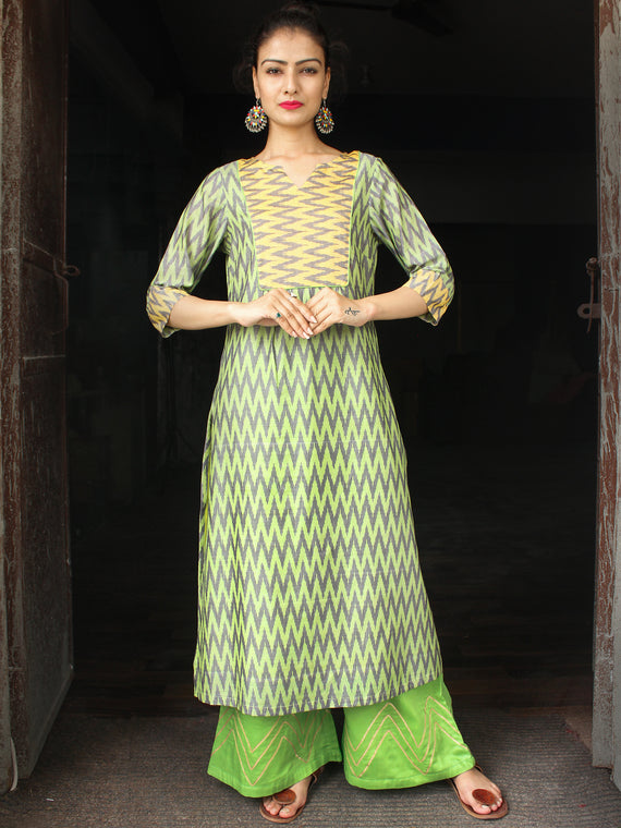 Green Yellow Silk Cotton Ikat Kurta & Pants (Set of 2)  - SS01F1430