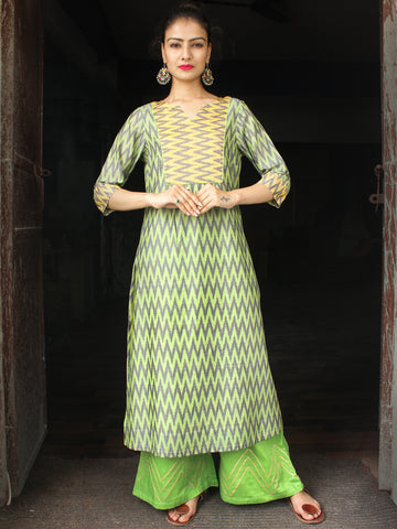 Parrot Green Yellow Grey Pochampally Hand Woven Mercerised Ikat Cotton Suit  - Set of 2  - SS01F033