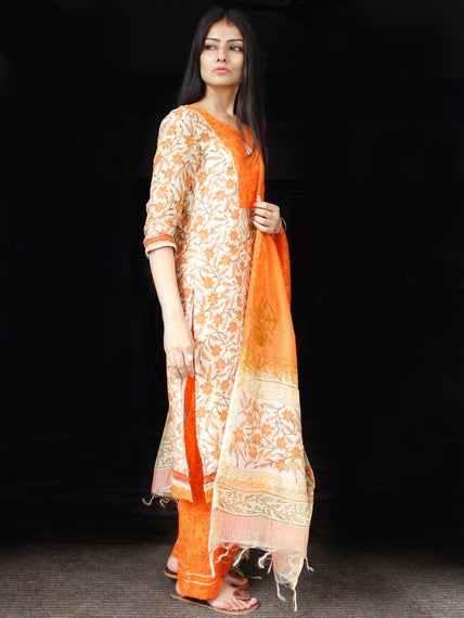 White Orange Chanderi Block Printed Suit Set - Set of 3  - SS01F002