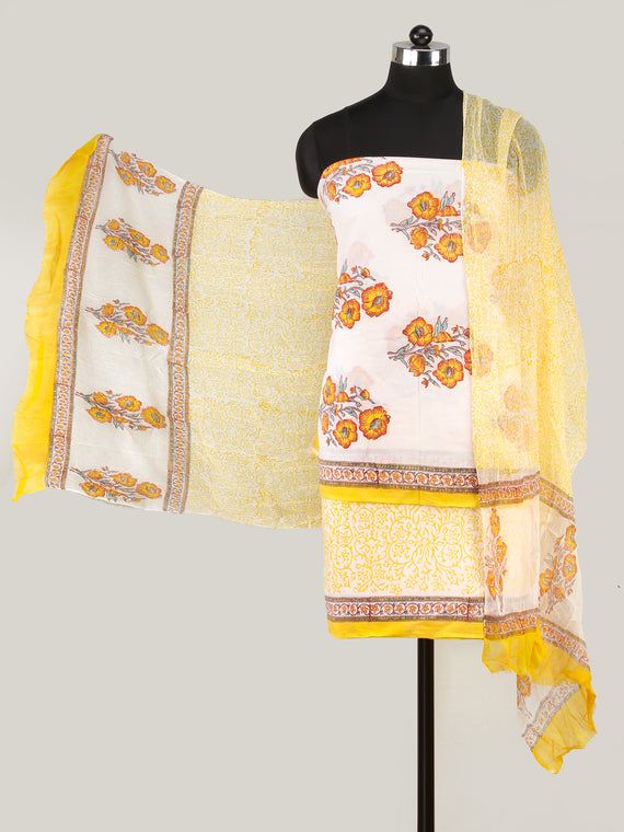 White Yellow Orange Hand Block Printed Cotton Suit-Salwar Fabric With Chiffon Dupatta (Set of 3) - SU01HB423
