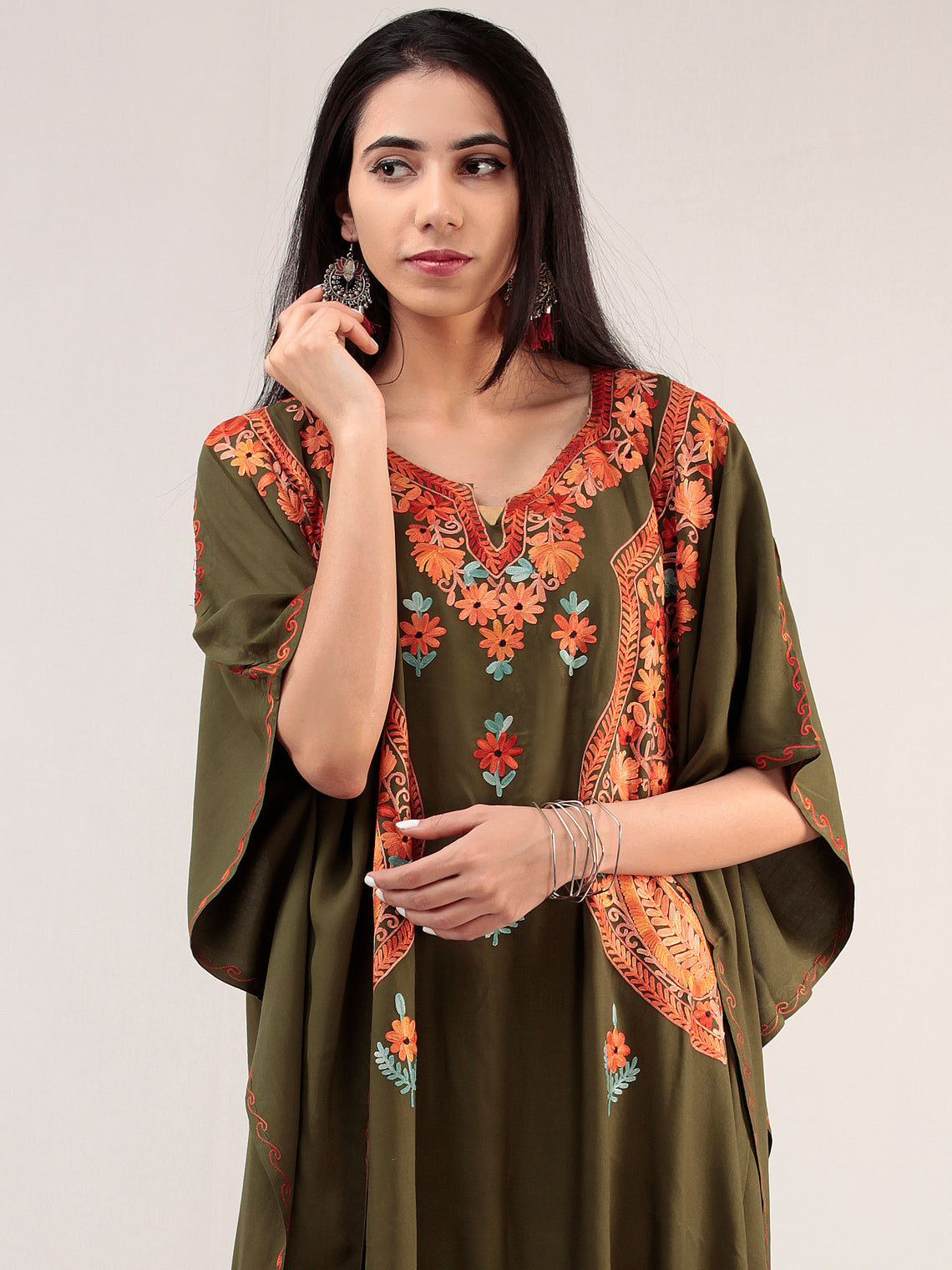 Green Orange Aari Embroidered Kashmere Free Size Kaftan  - K12K021