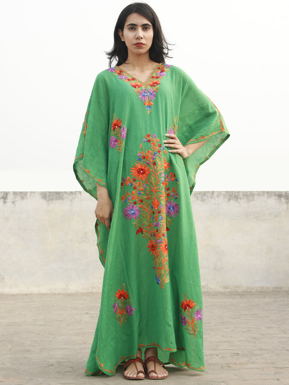 Green Orange Lavender Aari Embroidered Long Kashmere Free Size Kaftan in Crushed Cotton - K11K020