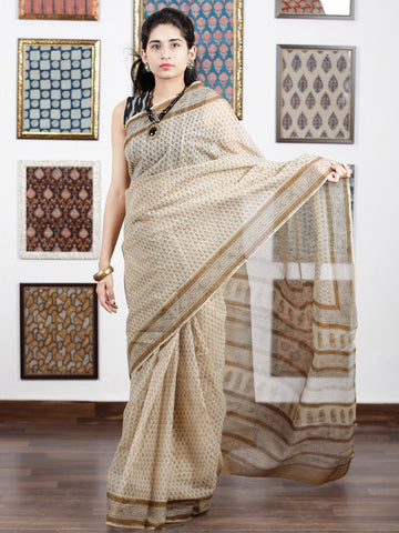 Beige Brown Black Hand Block Printed Kota Doria Saree in Natural Colors - S031703101
