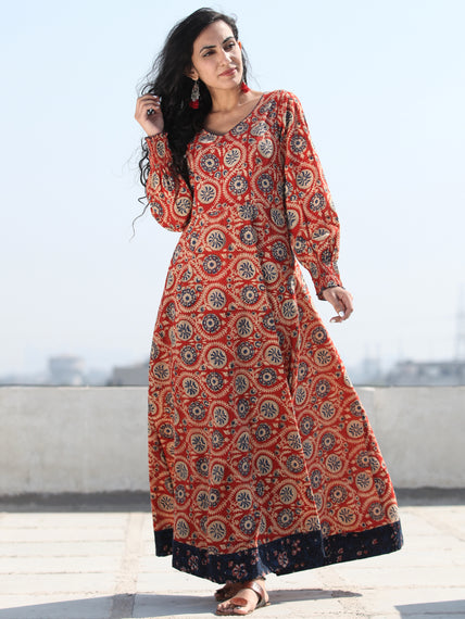 Gulzar Inaara - Urave Cut  Hand Block Printed Dress With Deep Neck - D457FKKK