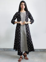 Black Ivory Bandhani and Hand Block Printed Glace Cotton Kurta  - K167FXXX