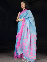 Blue Purple Handwoven Linen Saree With Temple Border & Contrast Blouse - S031703458