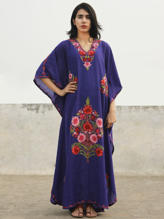 Purple Peach Pink Aari Embroidered Long Kashmere Free Size Kaftan in Crushed Cotton - K11K021