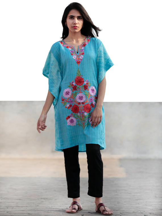 Blue Lavender Green Rust Aari Embroidered Short Kashmere Kaftan  - K11K034