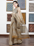 Beige Brown Black Hand Block Printed Kota Doria Saree in Natural Colors - S031703102