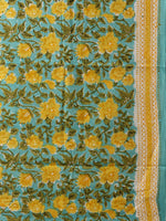Sea Blue Yellow Green Hand Block Printed Cotton Suit-Salwar Fabric With Chiffon Dupatta (Set of 3) - SU01HB442