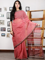 Pink Brown Ivory Hand Block Printed Kota Doria Saree in Natural Colors - S031702867