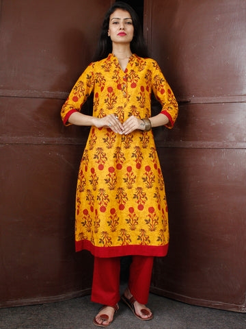 Mustard Yellow Maroon Cotton Block Printed Suit - Set of 2 - SS01F046