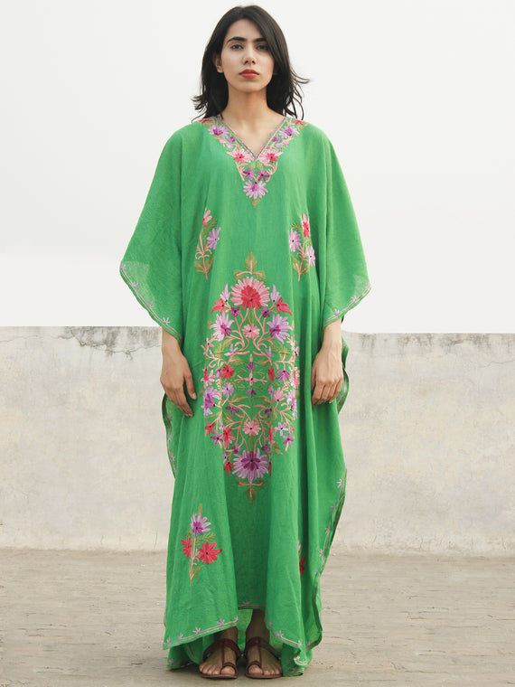 Green Lavender Pink Aari Embroidered Long Kashmere Free Size Kaftan in Crushed Cotton - K11K022