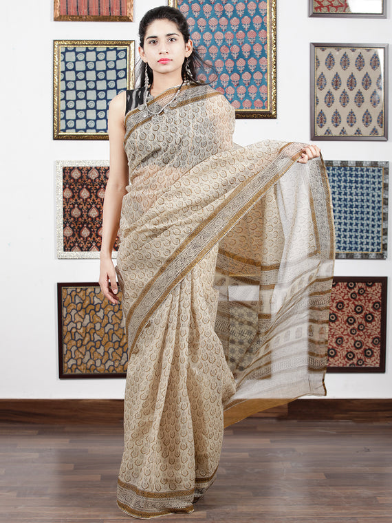 Beige Mustard Black Hand Block Printed Kota Doria Saree in Natural Colors - S031703103